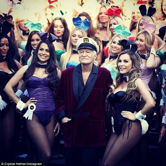 Celebration: Crystal joined Hugh Hefner and a collection of bunny girls for the recent 60th celebration at the Mansion