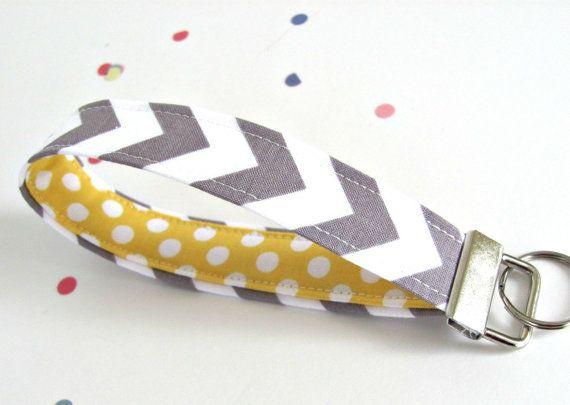 Grey Chevron Keychain Wristlet Key Fob - Yellow Polka Dot Lining - Spring Colors Fabric Key chain - Woman's Accessories