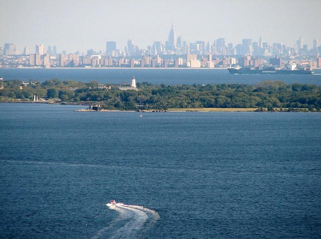 Sandy Hook Bay, Sandy Hook Lighthouse & NYC Skyline