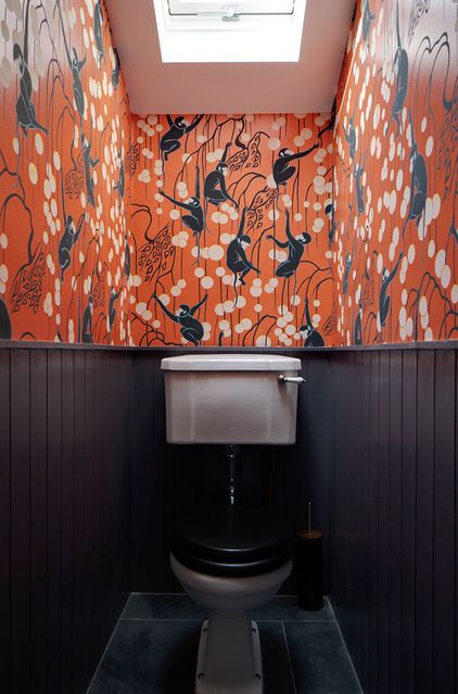 wallpaper! - Eclectic Powder Room by Brian O'Tuama Architects