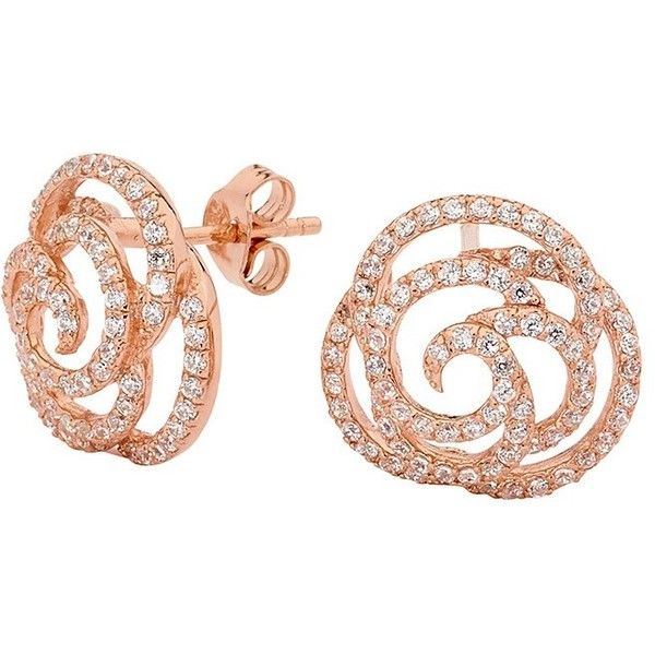Georgini Paloma Rose Gold Rose Stud Earrings (570 VEF) ❤ liked on Polyvore featuring jewelry, earrings, women's accessories, georgini, pink gold earrings, rose jewelry, rose gold jewellery and stud earring set