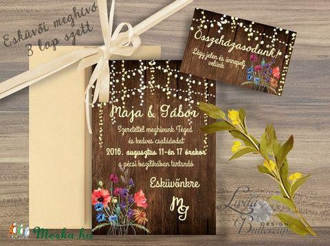 Vad Réti Virágos Esküvői meghívó, Pajta Esküvő, falu, Vintage Esküvői lap, vad virág, Rusztikus, Bohém, Esküvő, Naptár, képeslap, album, Meghívó, ültetőkártya, köszönőajándék, Esküvői dekoráció, Meska