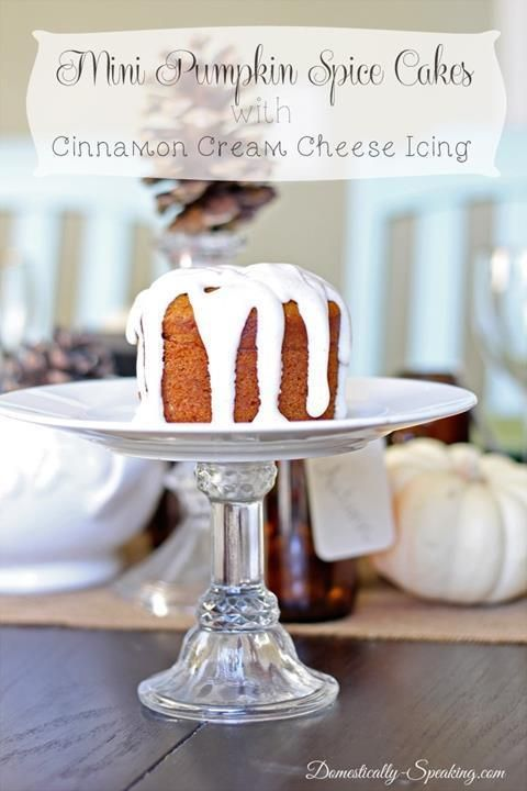 18.  Mini Pumpkin Spice Cakes with Cinnamon Cream Cheese Icing