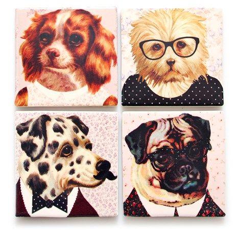 Glassunderlag – Dyr (4-pack), Hunder