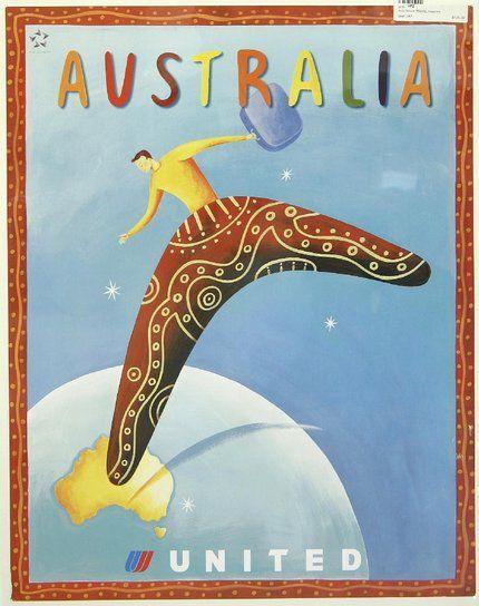 classic posters, free download, graphic design, retro prints, travel, travel posters, vintage, vintage posters, Australia, United Airlines - Vintage Australia Travel Poster