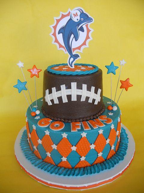 Miami Dolphins Party Cake by CakesUniqueByAmy.com, via Flickr