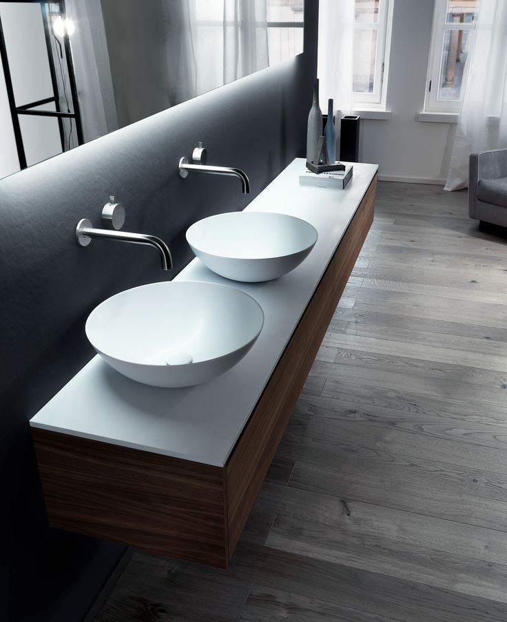 Enter a space that's really yours. VIAVENETO ELEMENTS composition: two drawer units, with grooved handle and optional wooden drawers, Cristalplant Biobased top with double on-top CIOTOLA 43 basins in Ceramilux SSL. Follow us on it.pinterest.com/falperdesign