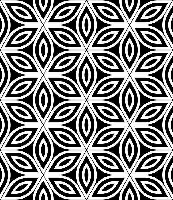 Pixerstick para Todas las Superficies Moderno del vector sin fisuras patrón de geometría sagrada, blanco y negro abstracto de la flor geométrica del fondo de la vida, la impresión del papel pintado, blanco y negro retro textura, diseño de moda del inconformista ✓ Fácil instalación ✓ 365 días de garantía de reembolso ✓ ¡Examine otros patrones de esta colección!