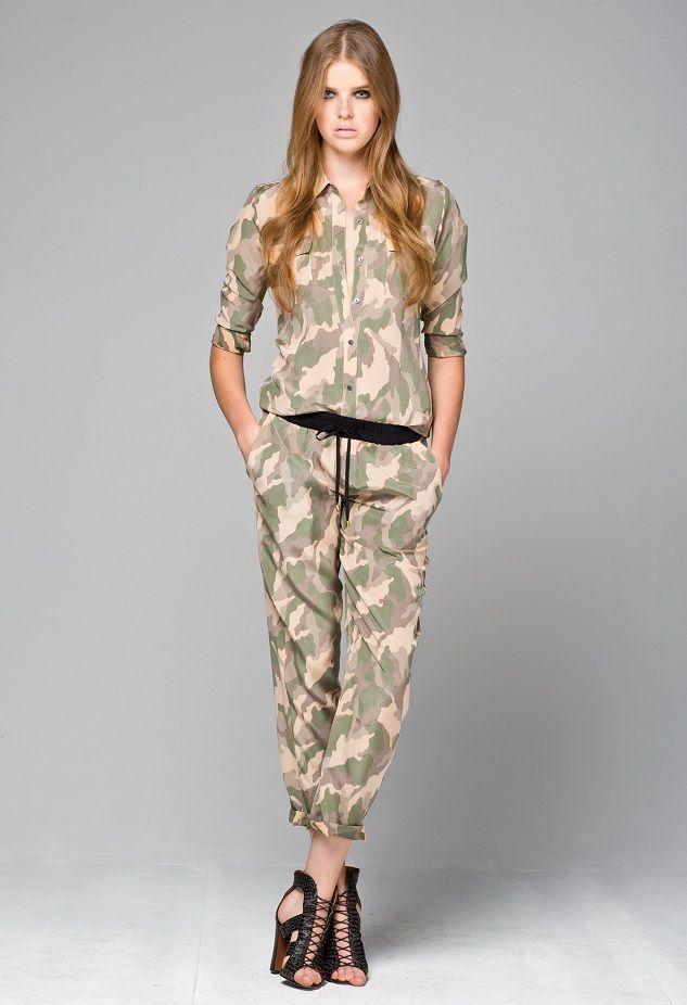 Little Joe Woman's camo printed Lazy de Lay silk shirt, and Picnic Princess camo printed pants