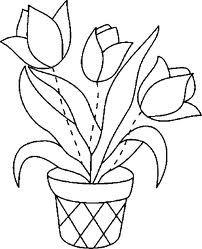 vaso flores para bordar