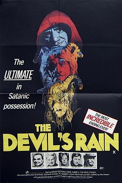 The Devil's Rain is a 1975 low-budget horror film, directed by Robert Fuest. It was one of several B-films in which William Shatner starred in between the original Star Trek television series and Star Trek: The Motion Picture. Other familiar names in the cast included Tom Skerritt, Ernest Borgnine, Eddie Albert, Ida Lupino, and Keenan Wynn. John Travolta also appeared in an early minor role. Satanist Anton LaVey is credited as the movie's technical advisor.