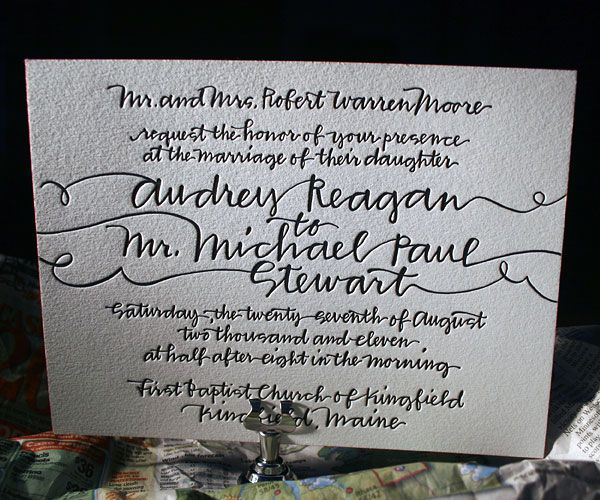 Love the string calligraphy... and letterpressed on thick paper makes it even better!
