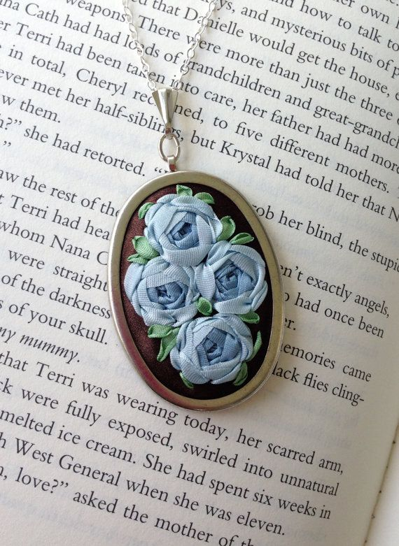 Blue and Brown Embroidered Rose Pendant handmade by BeanTown Embroidery, handmade necklace with embroidered roses