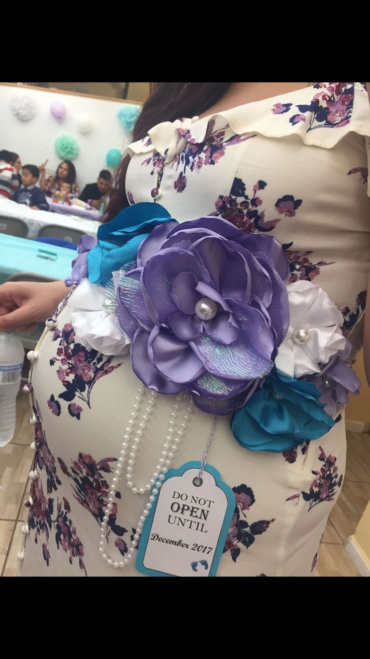 Baby Shower Sash - Mermaid Under the Sea themed baby Shower , teal lilac white pearls, handmade flowers