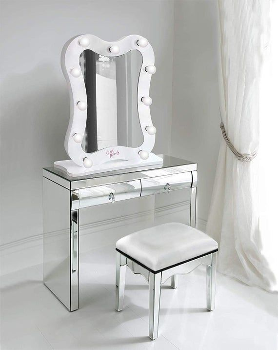 Curved Hollywood Vanity Mirror Led Makeup Table Etsy In 2021