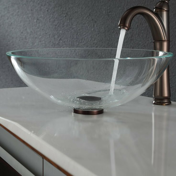 Kraus gv 100 crystal clear glass vessel sink at atg stores meanwhile in my pinterest bathroom - Vessel sink base ideas ...