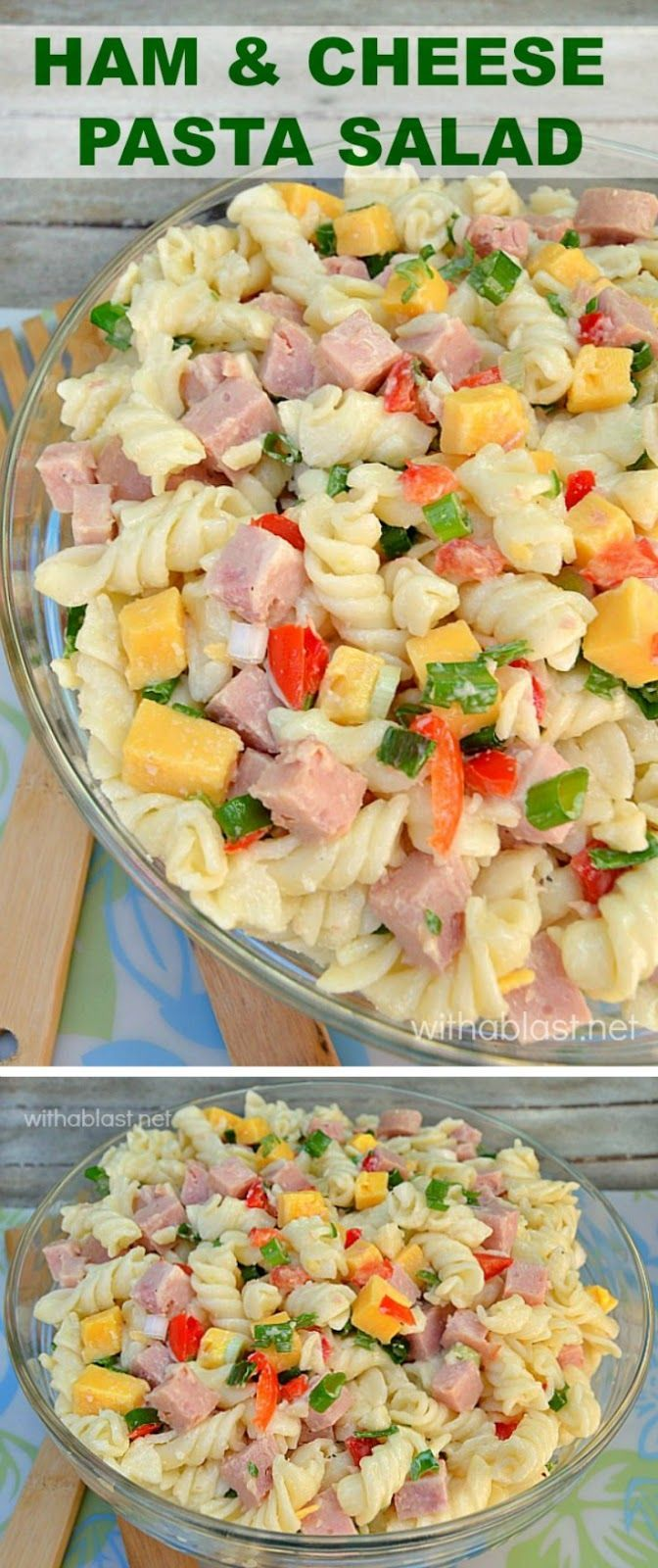 A simple, yet popular, delicious Ham and Cheese Pasta Salad with just enough dressing to make it tasty enough for seconds (or thirds!):