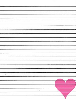 FREE... Pink heart lined paper printable!!