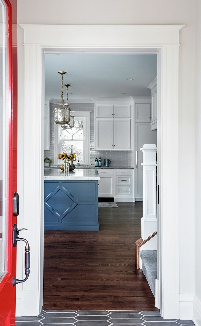 A Red Side Door Opens To A Mudroom With Direct View To The Kitchen Custom Cabinet Doors Design Historic Renovation