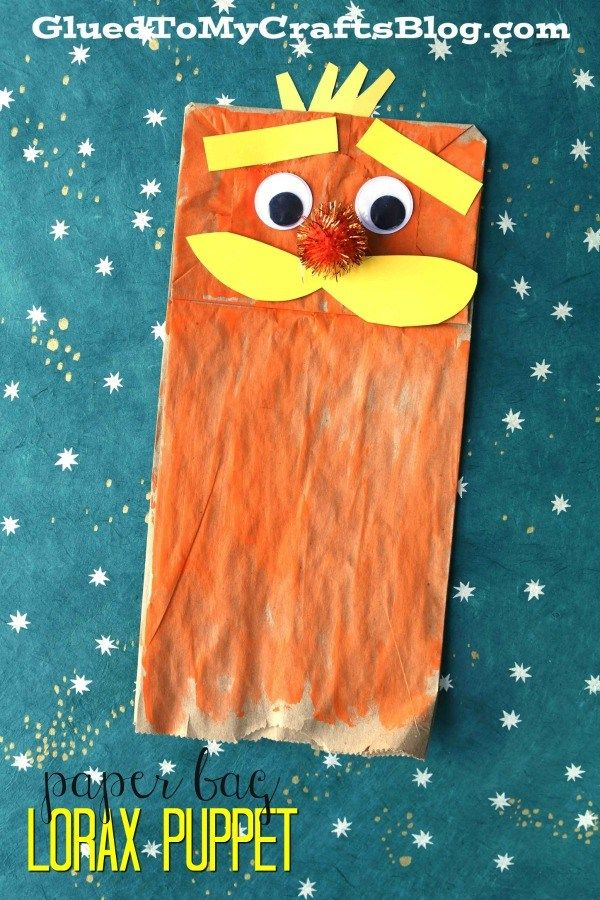 Paper Bag Lorax Puppet Kid Craft Glued To My Crafts