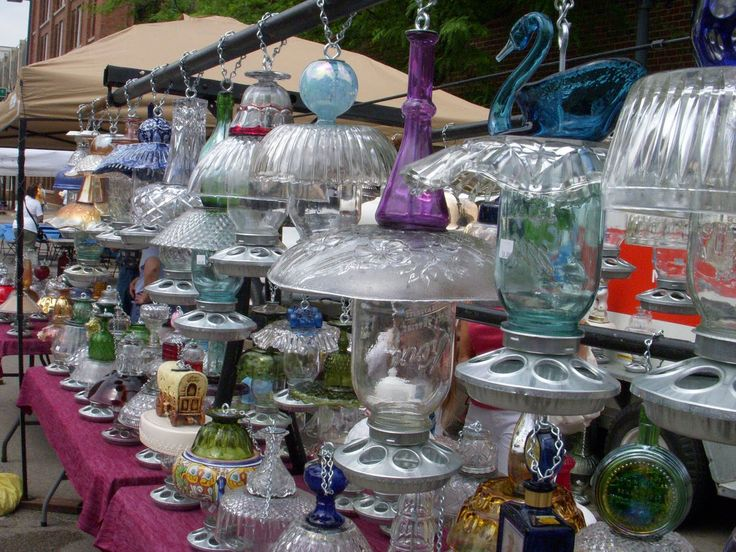 337 best birdhouses feeders images on pinterest bird for Recycled glass projects