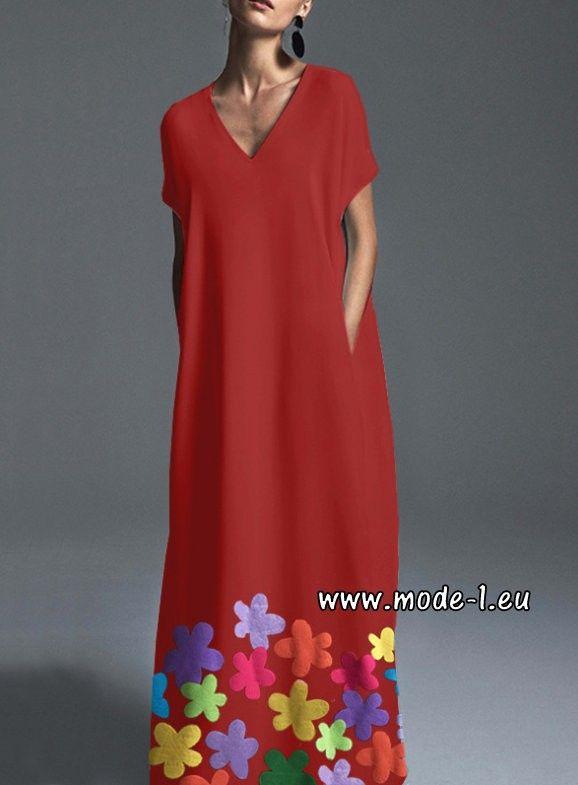 Boho Kleid Sommerkleid mit Blumen in Rot