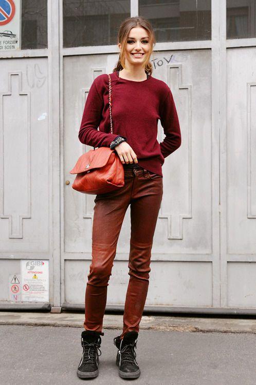 women 39 s burgundy crew neck sweater brown leather skinny. Black Bedroom Furniture Sets. Home Design Ideas