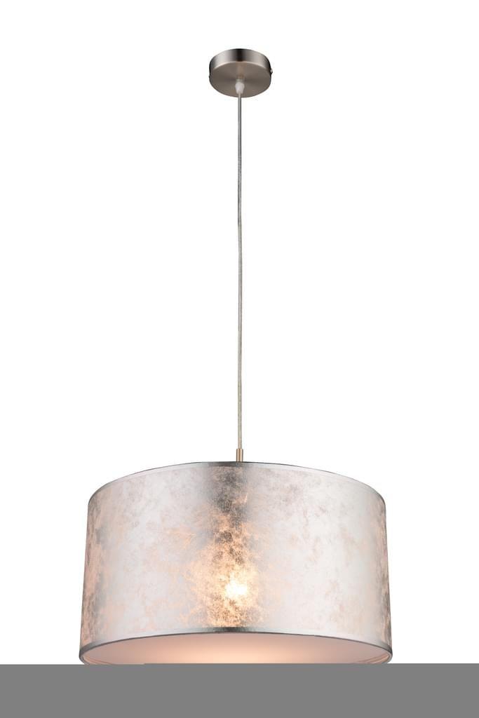 Design LED Deckenlampe AMY 40cm Stoffschirm silber Deckenleuchte Wohnraum Flur