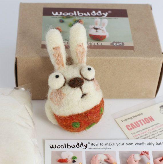 Needle felting rabbit kit