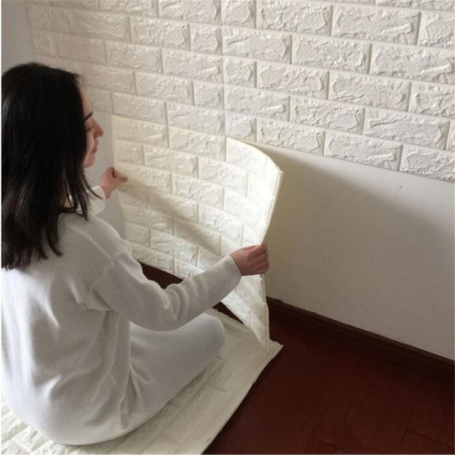 3D Wall Stickers Kindergarten Bedroom Modern living room Wallpaper art DIY Self-adhesive Elastic Brick Anti-collision Home Decor