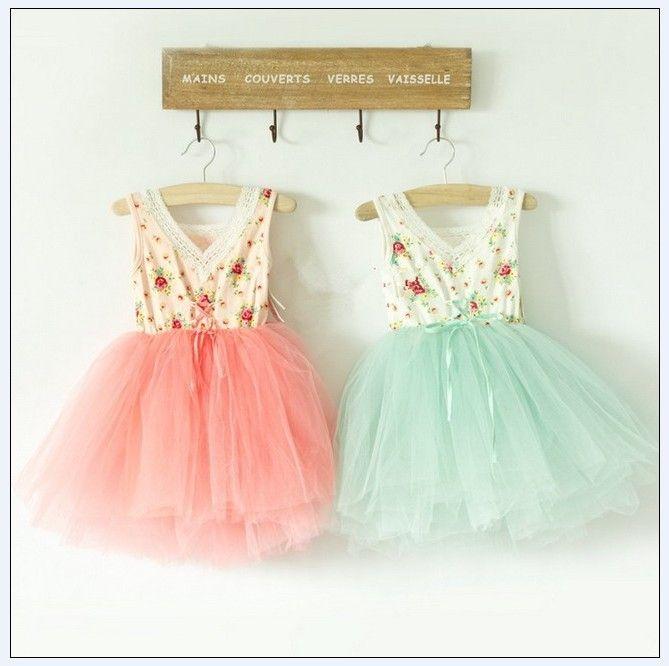 Meisje jurk meisje bloemen katoenen garen in 4 lagen super mooie prinses jurk voor kinderen vest y aug3