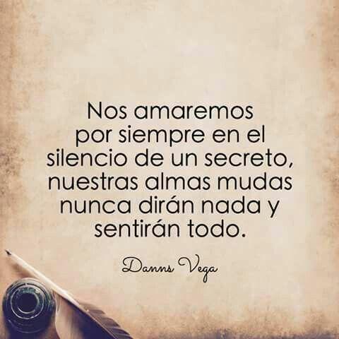 Nos amaremos por siempre en el silencio de un secreto, nuestras almas mudas nunca diran nada y sentiran todo...