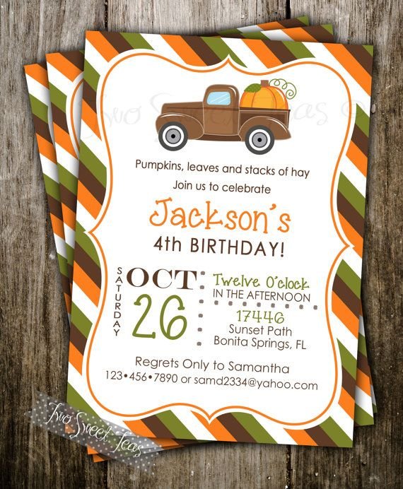 Pumpkin Patch Invitation Birthday Party Halloween Old Truck Digital Printable DIY on Etsy, $16.00