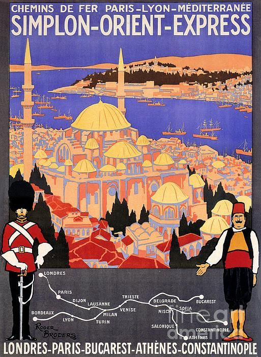 Restored Vintage Simplon Orient Express London Constantinople Posters, now also for sale on Fine Art America