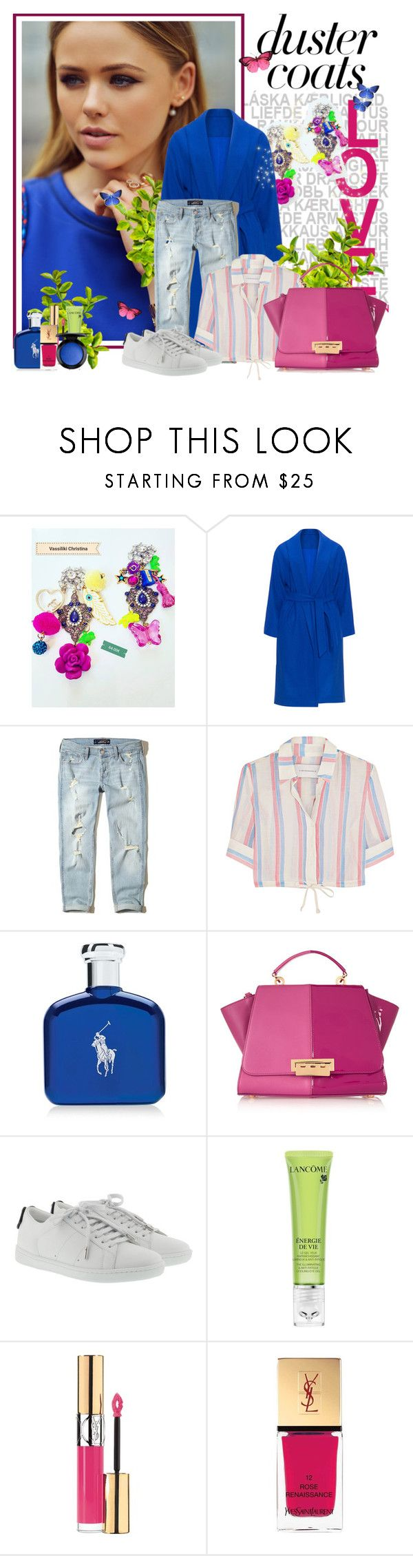 """""""Long Layers: Royal Blue Duster Coat"""" by croatia ❤ liked on Polyvore featuring Hollister Co., Solid & Striped, Ralph Lauren, ZAC Zac Posen, Yves Saint Laurent, Lancôme, MAC Cosmetics, boho, earrings and RoyalBlue"""