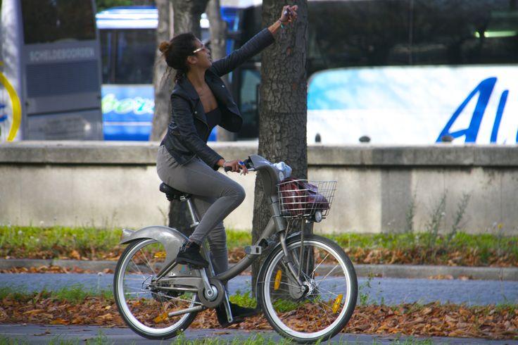 A selfie while riding a bike.