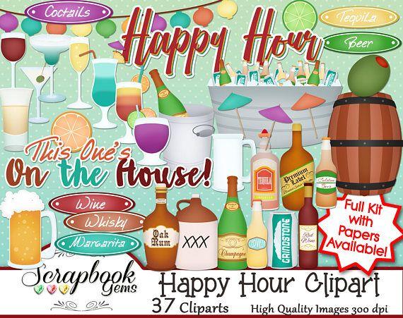 Happy Hour Clipart 37 Png Clipart Files Instant Download Etsy Scrapbook Program Clip Art Instant Download Etsy