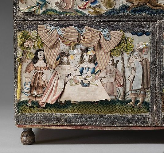 """British - after 1665.Cabinet with scenes from the Story of Esther Silk satin worked with silk and metal thread, seed pearls, mica, feathers; detached buttonhole, buttonhole filling variations; French knot, single knot, laid work, couching, satin, and stem stitches; metal thread trim; wood frame; silk lining; mirror glass, glass bottles; print of landscape inscribed: """"Sold by John Overton at the White Horfe in"""""""