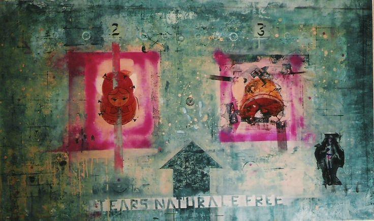 """Tears naturales free""-mixed media-86X140cm"