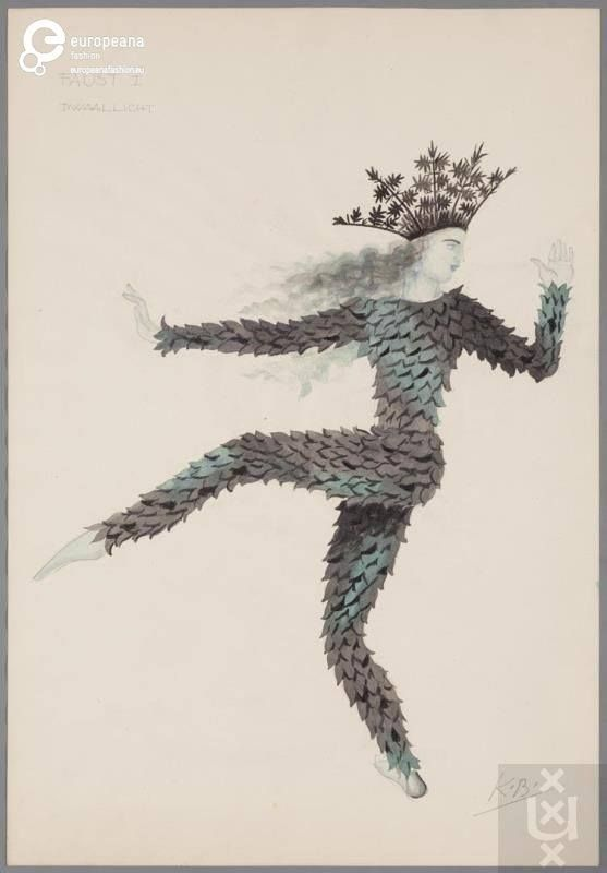 """Costume for a Will-o'-the-wisp by Karel Bruckman. The costume was designed for the theatrical representation of Johann Wolfgang von Goethe's """"Faust"""". Courtesy Theatercollectie Bijzondere Collecties UvA (stichting TiN) via Modemuze, all rights reserved."""