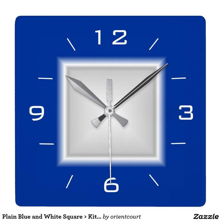 Plain Blue and White Square > Kitchen Clock
