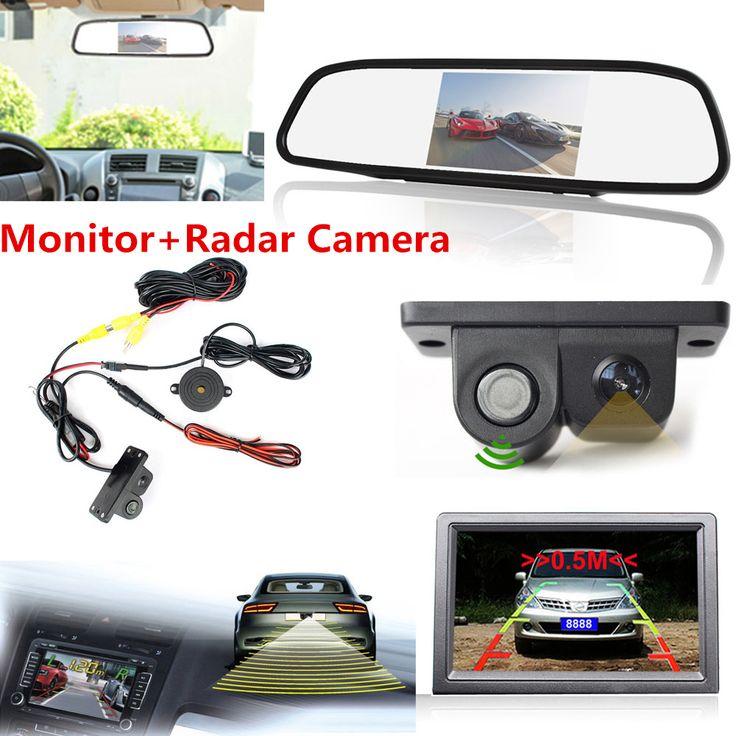 "New Arrival Night Vision Radar CCD Car Reverse Camera & 4.3"" HD Rearview Mirror LCD Monitor"