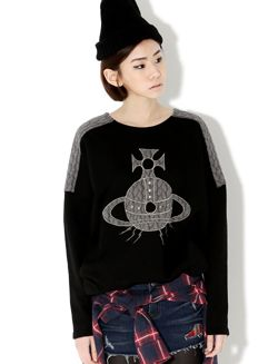 Get ready to hit the cafe with this two tone pullover with antique cross motif at center. Eyes will be drawn your way with its embossed shoulder detail and you'll enjoy its long sleeves plus hi-low loose fit bodice. Finish this with a pair of blue skinny jeans and brown mixed media boots. Korean Hot Fashion