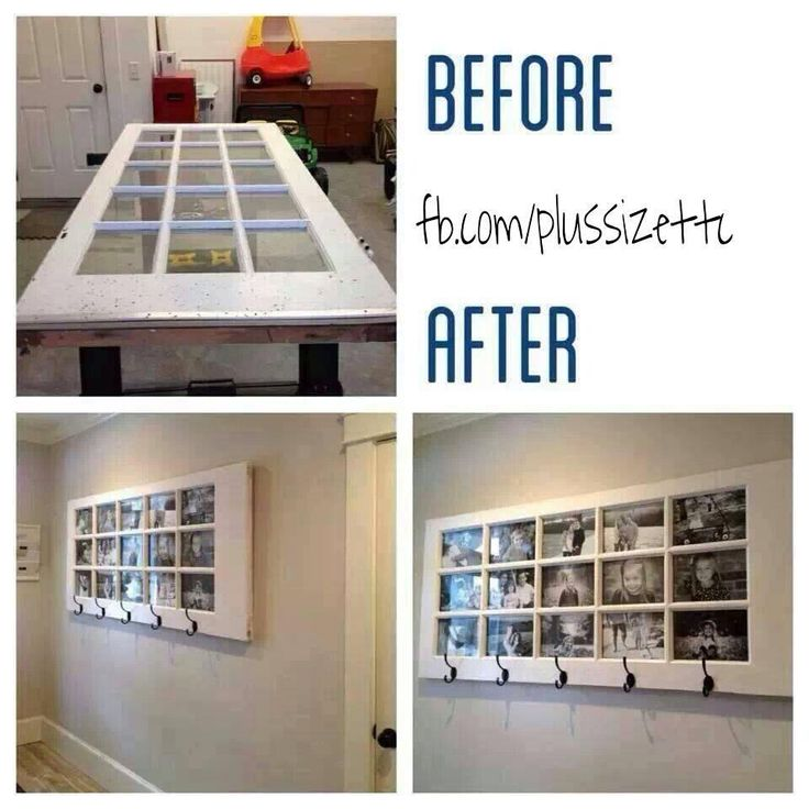 Door, painted and filled with photos, turned into a coat hanger. Perfect house decoration.