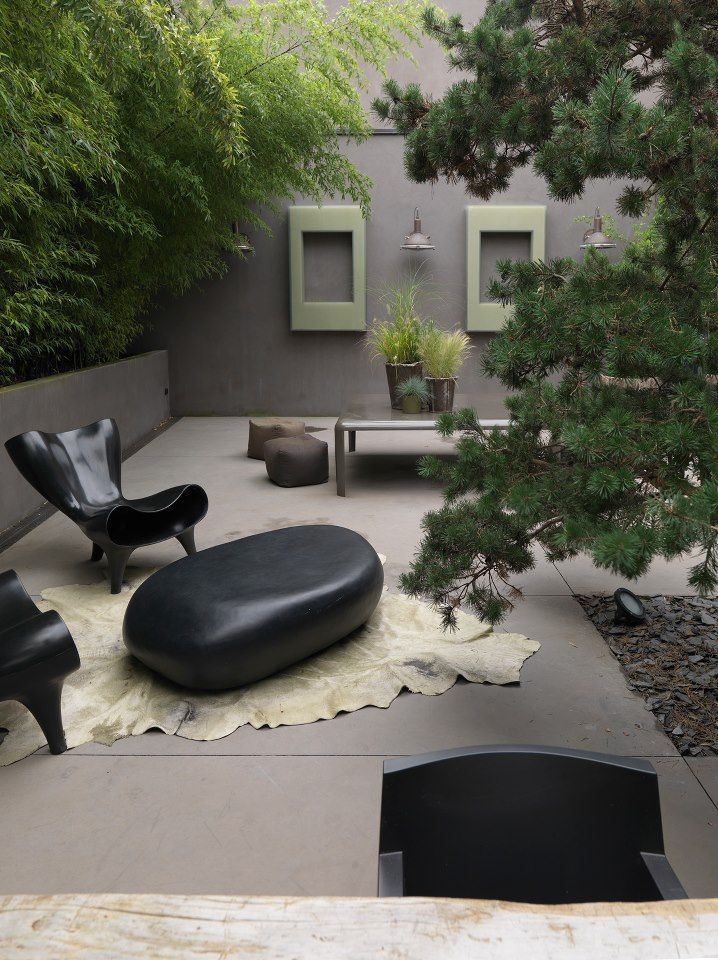 This wonderful outdoor space is part of the French House layout featured in Elle Decoration UK.