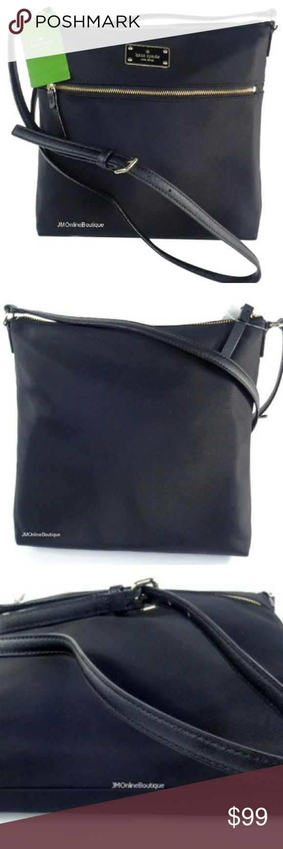 "KATE SPADE Crossbody Shoulder Purse DESCRIPTION  100% AUTHENTIC! NEW WITH TAGS! Kate Spade Women's Black Keisha Blake Avenue Nylon Crossbody/Shoulder Purse Measurement Approx. - 10.5"" (L) X 10.5"" (H) X 2.5"" (W) Adjustable Leather Strap Measurement Approx. - 18"" to 24"" Black Spades Nylon with Patent Leather Tri… mor kate spade Bags Crossbody Bags"