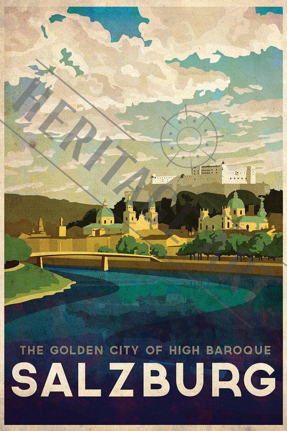 Salzburg+Vintage+Travel+Poster+by+HeritageArtPrints+on+Etsy