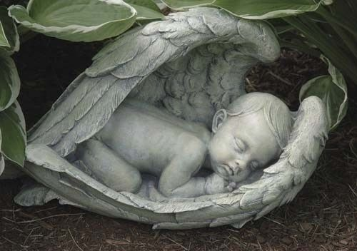 Sleeping Baby In Angel Wings Garden Statue Miscarriage Memorial Figure – Beattitudes Religious Gifts