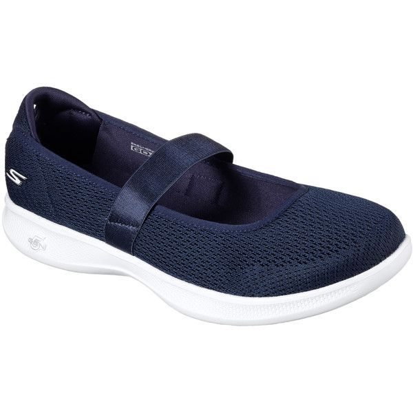 Skechers Women's Skechers Go Step Lite - Blooming Navy - Skechers... (82 AUD) ❤ liked on Polyvore featuring shoes, sneakers, navy, ballet shoes, navy slip on sneakers, mary-jane shoes, mary jane sneakers and skechers shoes