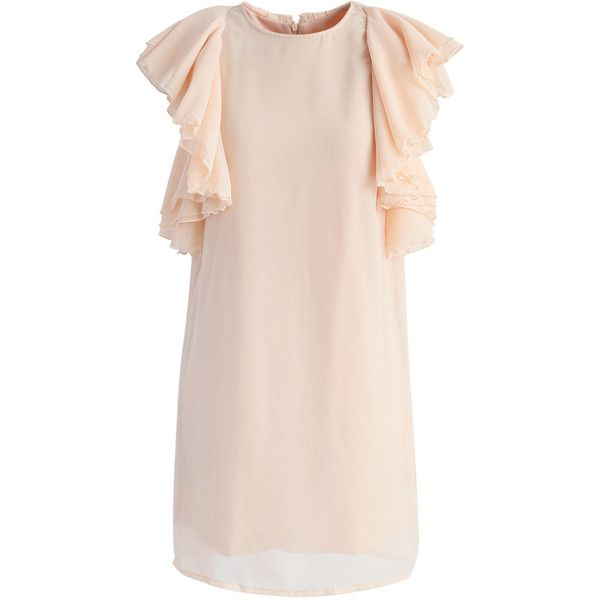 Chicwish Aflutter Ruffle Shift Dress in Beige ($46) ❤ liked on Polyvore featuring dresses, beige, pink shift dress, pink frilly dress, beige dress, mini dress and shift dresses